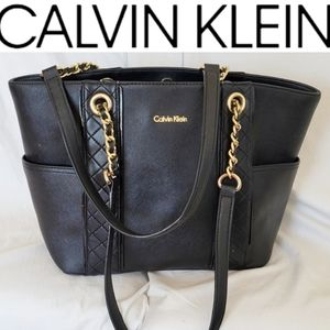Calvin Klein Blacl Gold Quilted Tote Purse